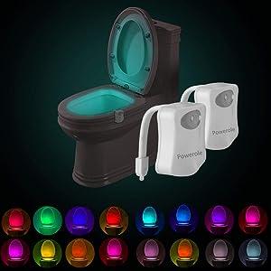Powerole Toilet Night Light PIR Motion Activated Toilet Light Sensor LED Washroom Potty Night Light Inside Toliet Lamp 16 Colors Changing Battery Operated Motion Sensor for Bathroom Washroom