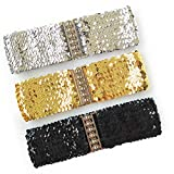 WYuZe 3 Pack Glitter Sequin Wide Elastic Belt, Women Girl Sparkle Bling Stretch Dress Belt Accessory (Gold, Silver, Black)