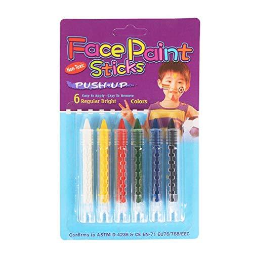 Qiopes - Lápiz facial para rostro y cuerpo, 6 colores, pintura segura y no tóxica, para Halloween