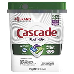 Cascade Platinum Dishwasher Pods, Actionpacs Dishwasher Detergent, Fresh Scent, 62 Count