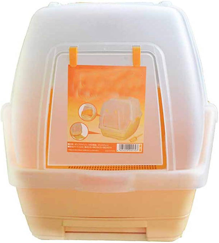 QIQI Enclosed Cat Litter Box Cat Toilet Pet Cat Supplies 52  40  42cm (color   orange)