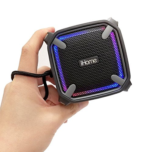iHome Weather Tough Portable Rechargeable Bluetooth Speaker with Speakerphone and LED Accent Lighting (Mini)
