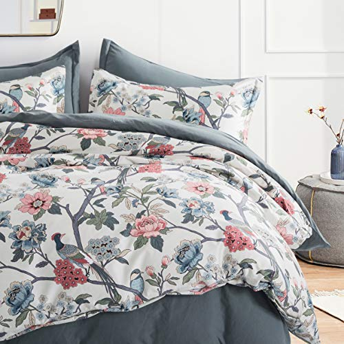 Cottage Bloom Garden Duvet Cover Set French Country Provincial Chic Floral Birds Bedding Peony Blossom Tree Branches (Muted, King)