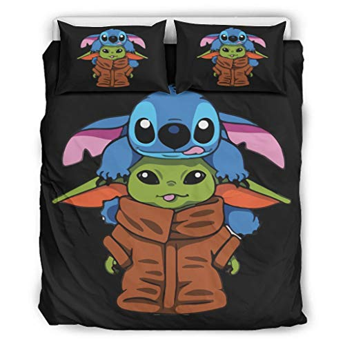 WellWellWell Juego de ropa de cama Yoda y Baby Stich, 3 unidades,...