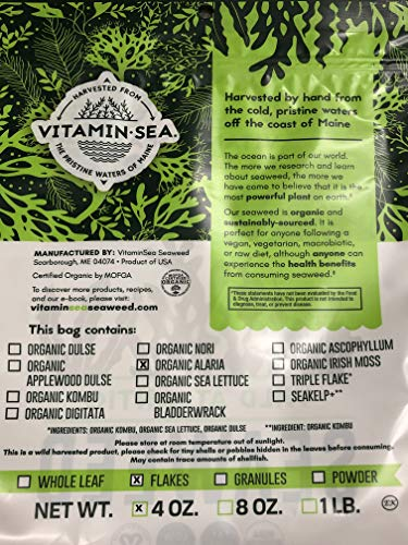 VITAMINSEA Organic Alaria Wild Atlantic Wakame Flakes Seaweed - 4 oz / 112 G Maine Coast Sun Dried - Raw Sea Vegetables - USDA - Vegan - Kosher Certified - Perfect for Keto Diet (WF4)
