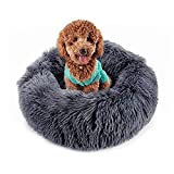 Donut Dog Bed for Small Dogs - Veepax Non-Slip Washable Calming Pet Bed   Soft Fluffy Round Dog Cat Cushion Bed (20')