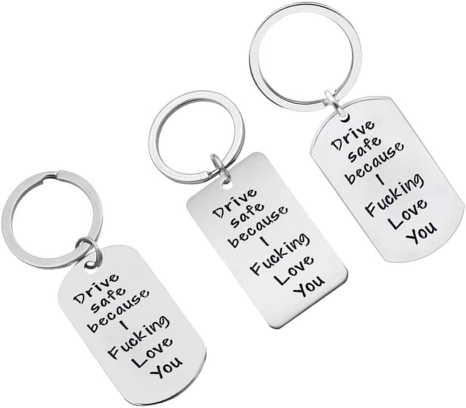 LIOOBO 3 Pcs Keychains Stainless Steel Creative Funny Drive Safe Hanging Pendant Decor Keyrings