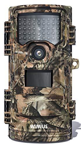 WiMiUS H7 Fotocamera da Caccia 16MP 1080P HD Impermeabile, Fototrappola Infrarossi Invisibili 32 IR LED, Visione Notturna, IP66, impermeabile, per animali selvatici e sicurezza domestica