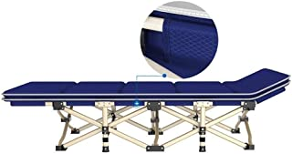 Recliner Chair Folding Camping Cot Bed with Cushions - Ultra Lightweight Heavy Duty Design Holds Adults Kids Portable Bed for Indoor Outdoor Use Support 200kg (Color : Blue)