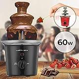 Jago® Schokoladenbrunnen 60W - 3 Etagen, 400 gr Kapazität, Edelstahl, Spülmaschinenfest, Rot oder Schwarz - Schokobrunnen, Schokofondue, Schokoladenfondue (Schwarz) - 2