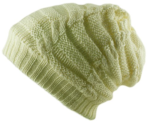 Unisexe 3 en 1 Uni Slouch Bonnet Snood en tricot col écharpe visage Warmer - Ecru - Taille Unique