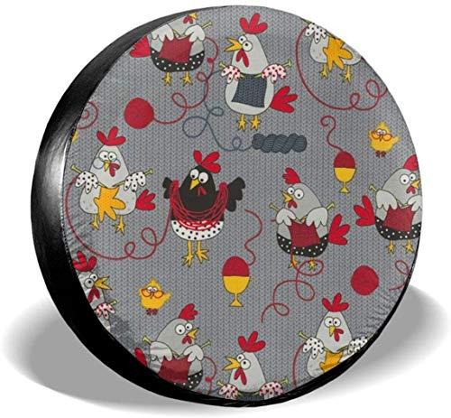 MODORSAN Red Chickens - Cubierta de Rueda de Repuesto para neumáticos, Cubiertas de poliéster universales para Ruedas para Jeep, Remolque, RV, SUV, camión, Accesorios, 16 Pulgadas