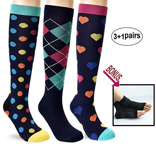 Kompressionsstrümpfe für Damen und Herren, 20-30 mmHg, kniehoch, Unisex-Erwachsene, Gelb Rosa Herz, blaue Punkte, 3 Paar, Small-Medium