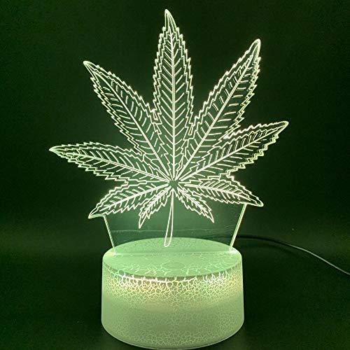 3D Illusion Led Night Light Lámpara Botánica Cannabis Marijuana Office Bar Room Lámpara decorativa USB o con batería Luz nocturna