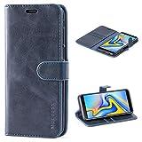 Mulbess Handyhülle für Samsung Galaxy J6 Plus Hülle Leder, Samsung Galaxy J6 Plus Handy Hüllen, Vintage Flip Handytasche Schutzhülle für Samsung Galaxy J6 Plus / J6+ Hülle, Navy Blau