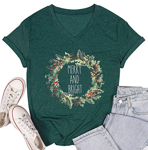 UNIQUEONE Merry and Bright Christmas T Shirt Women Short Sleeve V-Neck Casual Tops Tee (Medium, Green)