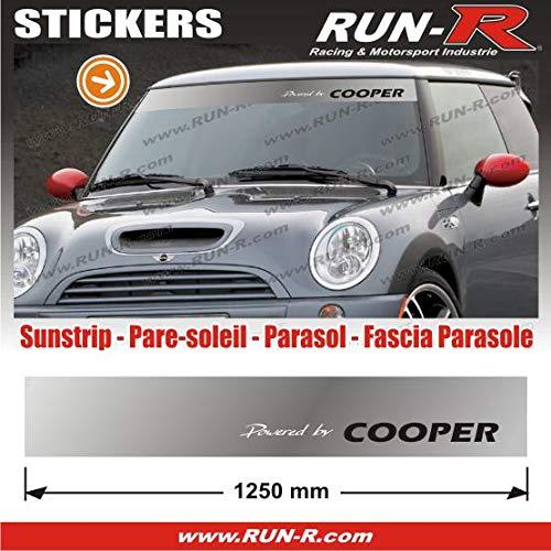 MI423 - 1 pare-soleil POWERED BY COOPER - Fond ARGENT lettres BLANCHES et NOIRES - 125 cm Run-R Stickers