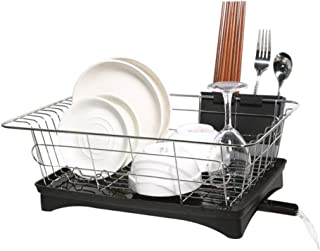Dish Drainer Stainless Steel Drying Rack with 3-Piece Set and Removable Utensil Holder Small Dish Rack for kitchen Counter- 16.7