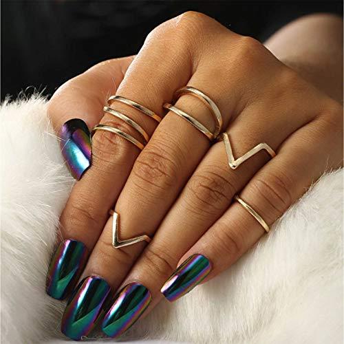 TseenYi Juego de anillos bohemios vintage de oro para nudillos, anillos de dedo retro midi para mujeres y niñas