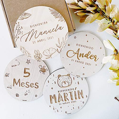 MONAMÍ - Placas CUMPLEMES grabadas en Madera Personalizadas, Varios diseños a Elegir. Diseñado y producido en España