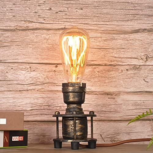 SUNLLOK Vintage Industrial Table Lamp Steampunk Antique Holder - Retro Small Desk Lamp Base - Bedside Night Light for Lounge Loft Living Room Bedroom Decoration (Metal Gold, no E26 Bulbs)