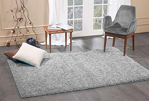 FunkyBuys Shaggy Rug Plain 5cm Thick Soft Pile Modern 100% Berclon Twist Fibre Non-Shed Polyproylene Heat Set - AVAILABLE IN 6 SIZES On Amazon (Grey, 66cm x 110cm (2ft 3' x 3ft 7'))