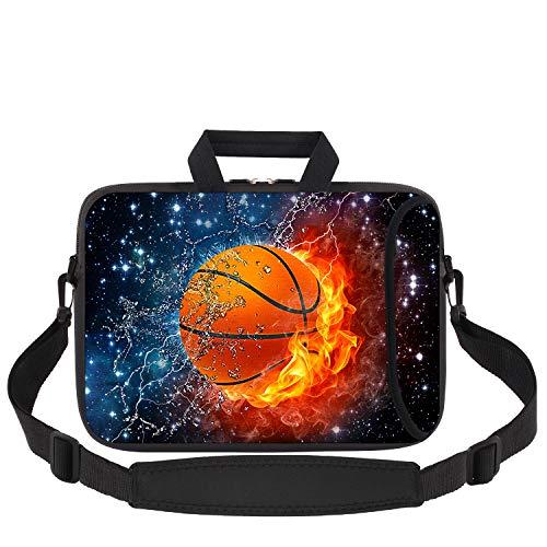iCasso Laptoptasche aus weichem Neopren mit verstellbarem Schultergurt, kompatibel mit MacBook Pro, MacBook Air, Notebook Computer, Ultrabook Tablet, Basketball
