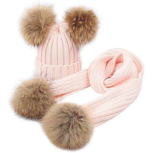 MAGIMODAC Mädchen Jungen Strick Mütze Beanie Wolle Schal Wollmütze Bommelmütze Winterschal Kombi Set Kinder mit Echtfell (B-Rosa, Einheitsgröße)