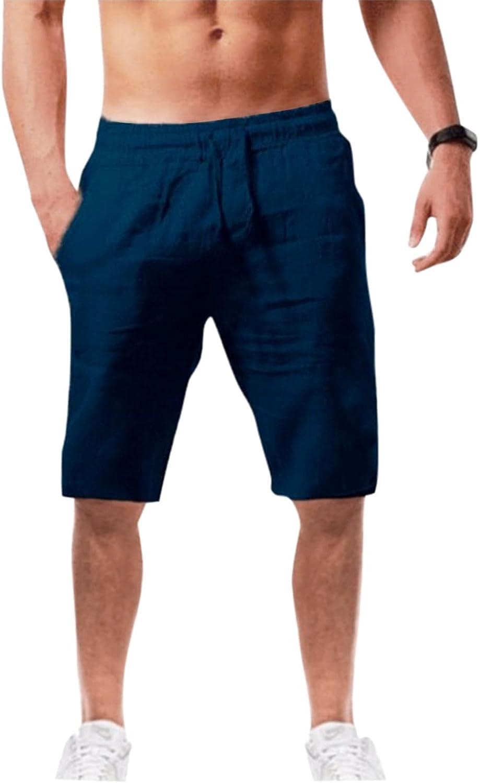 XUNFUN Mens Cotton Linen Shorts Casual Elastic Waist Outdoor Comfy Workout Shorts Summer Beach Swimming Shorts S-3XL