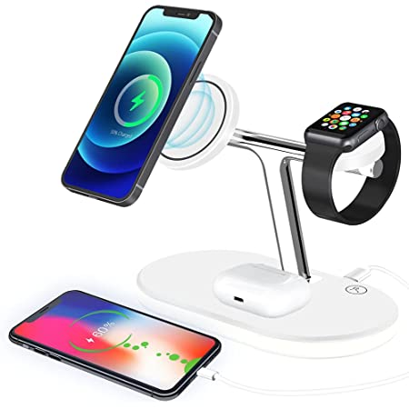 Cpviat 3 in 1 Magnetic Wireless Charger Fast Wireless Charging Station for Android Samsung Huawei Xiaomi iPhone X/XR/11/12/13 Pro, AirPods 2/Pro Series (with Powerful Magnetic Patch)