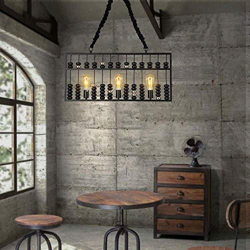 MKKM Lámpara, Lámparas - / Estilo Abacus-Tipo Lámparas de Madera/Metal Led Lámparas de Calentamiento Luz Led-E27 * 5 Jefes Negro Adecuado para Todo Tipo de Escenas (80X36Cm) Hermosa