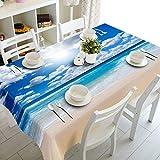 XXDD Mantel 3D Estrella de mar Concha patrón de Playa a Prueba de Polvo a Prueba de Polvo Lavable Grueso paño de Mesa Rectangular A5 150x210cm