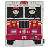 Mugod Fireman and Fire Engine Blanket Cartoon Firefighter Badge Helmet Fire Truck Red Fuzzy Soft Cozy Warm Flannel Throw Blankets Decorative for Boys Girls Toddler Baby Dog Cat 40X50 Inch