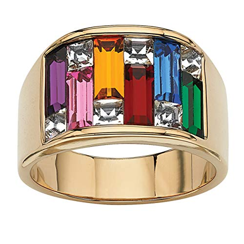 Palm Beach Jewelry Yellow Gold Ion Plated Baguette Multicolor Crystal, Simulated Ruby and Sapphire Ring Size 7