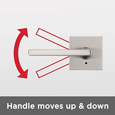 Kwikset 91550-029 Halifax Door Handle Lever with Modern Contemporary Slim Square Design for Home Bedroom or Bathroom Privacy