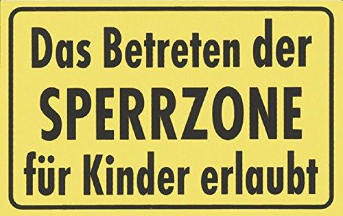 Türschild-Spaßschild - Betreten der Sperrzone für Kinder. - 8,5x 5,5cm - 307990