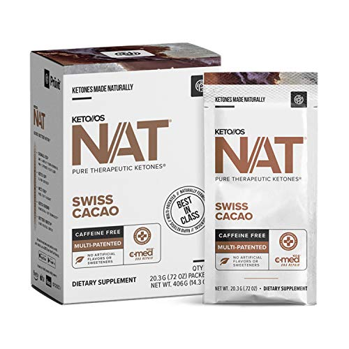 Keto//OS NAT® Swiss Cacao Keto Supplements – Caffeine Free - Exogenous Ketones - BHB Salts Ketogenic Supplement for Workout Energy Boost for Men and Women (20 Count)