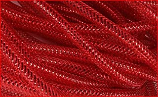 Deco Mesh Flex Tubing with Metallic Foil (Red) 8mm x 30 Yards : RE300436