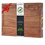 Large Reversible Organic Acacia Wood Cutting Board Multipurpose Thick Kitchen Cutting Boards...