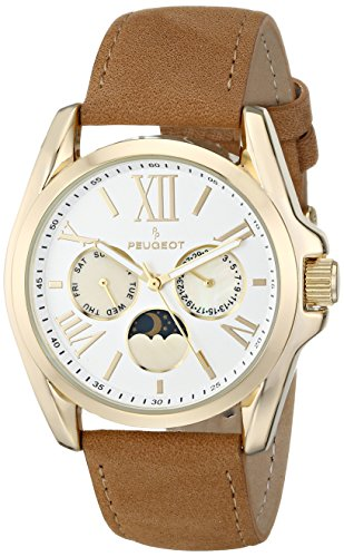 Peugeot Women's 3040GBR Gold-Tone Watch with Brown Suede Strap