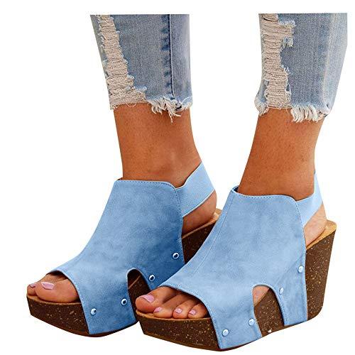 Aniywn Women Comfy Wedge Sandal Ankle Elastic Buckle Strap Sandal Shoes Platform Open Toes Summer Sandals Blue