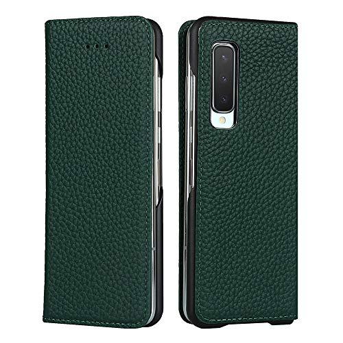 Galaxy Fold SCV44 ケース 手帳型 カバー Zouzt 牛革 本革レザー 本皮 財布型 カード収納 スタンド マグネット 耐衝撃 おしゃれ 6色 ダークグリーン