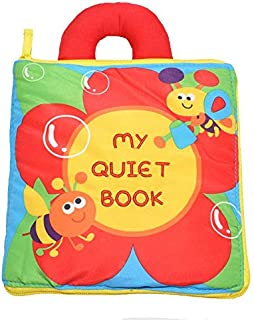 12 Pages Baby Soft Fabric Cloth Book Nontoxic Rustle Sound Infant Kids Early Education Books for 0-3yrs Old Babies