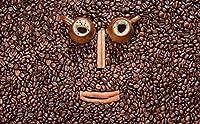 写真の壁紙3D壁画コーヒーショップ個性コーヒー豆表現背景壁現代のHdポスター大きな壁のステッカーツーリング壁アート装飾壁の装飾-98.4x68.9inch