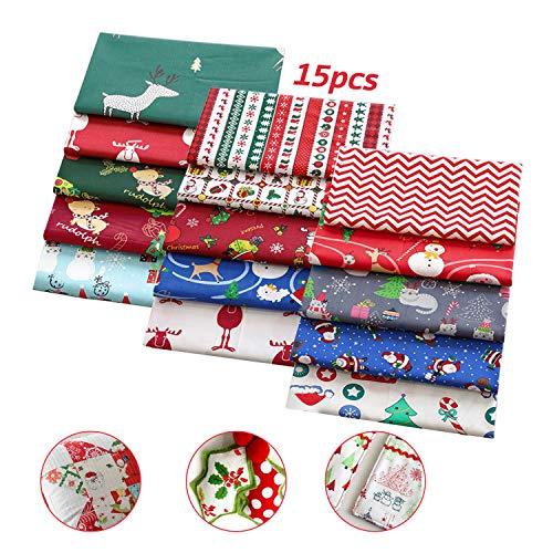 stoffa natalizia, tessuto di cotone di natale, stoffa patchwork, tessuto stoffa cotone 15 pezzi, per diy calze natalizie /scrapbooking, 25x25 cm