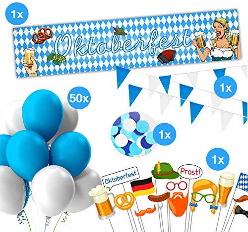 Ultimatives XXL Oktoberfest Deko - blau/weiße bayrisch Wiesn Dekoration mit über 100 Teilen