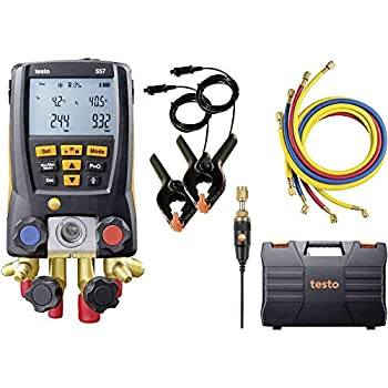 Testo - 0563 2557 557 I Digital Manifold Kit for air conditioning refrigeration systems and heat pumps I 4-valve HVAC gauge with Bluetooth and set of 4 hoses