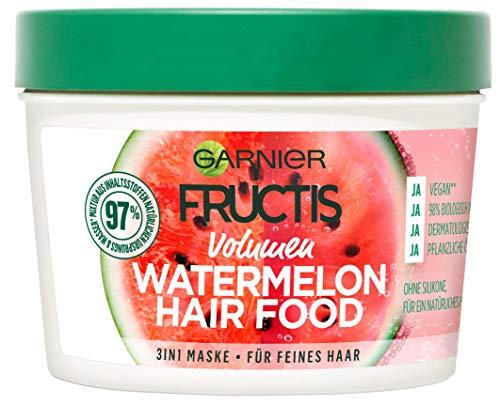 Garnier Fructis Volumen Watermelon Hair Food 3-in-1 Maske, entwirrt feines Haar sanft, schenkt unvergleichlichen Glanz, mit Wassermelone, 390 ml