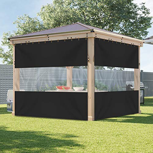 Outdoor Vinyl Curtain with Clear Tarp Panel 18 Oz - Weather Resistant Patio Outdoor Vinyl Curtain - With Rustproof Grommets - For Pergola, Porch, Gazebos (8' x 9', Black)