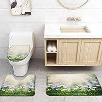 ZGDPBYF 浴室用アップホームバスマットスプリンググリーンメドウワイルドフラワーサンライトプリントバスマットシャワーフロア用カーペットバスタブマット